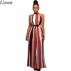 67d292899e1a Sexy Halter Neck Off Shoulder Striped Long Women Jumpsuits 2017 Spring  Summer Loose Club Party Rompers