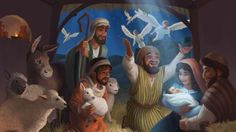 An illustrated Christmas card and keepsake, sharing the birth of Jesus with children in need. Sent abroad to children sponsored through World Vision, a leading international humanitarian organization. World Vision is dedicated to working with children, Bible Illustrations, Christian Pictures, Jesus Stories, Catholic Art, Children In Need, Christmas Cards, Christmas Ideas, Lessons For Kids, Gods Love
