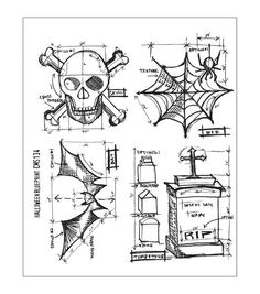 Tim Holtz Cling Rubber Stamp Set-Halloween Blueprint