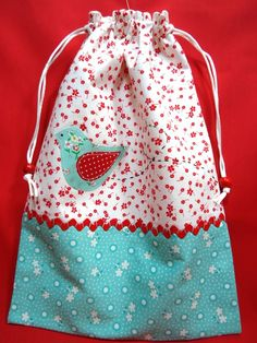 red and aqua bag