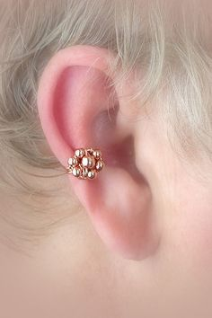 Ear cuff Copper/Copper beaded Flower/ Wire by TheLazyLeopard, $10.00
