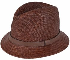 NEW Gucci Men's 368359 BROWN Straw Leather Logo Panama Fedora Hat S #Gucci #FedoraTrilby