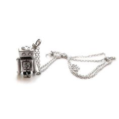 Mini Robot Necklace, $86, now featured on Fab.