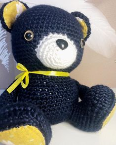 Since both the pink and blue bears sold recently, I thought I'd better make another. Apparently I've decided I really like dark blue now,…