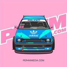 Adidas retro style MK2 #vw #vwgolf #golfmk2 #vdub #vectorillustration #vectorart #carillustration #carart #vector #adidas #retrostyle #90s #carlivery #racecar #vwmotorsport #vwperformance #falkentires #vwmafia #burnallthemk2s