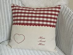 CREAM LINEN / RED GINGHAM CUSHION Home Sweet Home Heart
