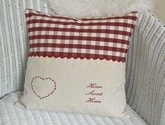 CREAM LINEN / RED GINGHAM CUSHION Home Sweet Home Heart