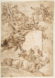 St. Michael Expurging Heresy - Pietro da Cortona; Pen and brown ink, brush and brown wash over traces of black chalk