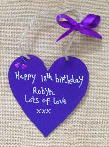 'Purple' 18th Birthday Personalised Wooden Heart Gift