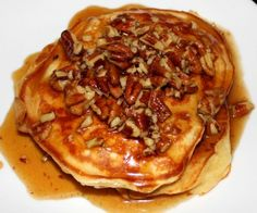 Blueberry Seltzer Pancakes with Butter-Pecan Syrup..seriously!yum!
