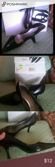 Nine West NW Nuncio Black Pointy Pumps Nine West black leather pointy front pumps. Style name is NW Nuncio.  Size 5.5. Slight wear on heel bottom and sole bottom (reflected in price ) Nine West Shoes Heels