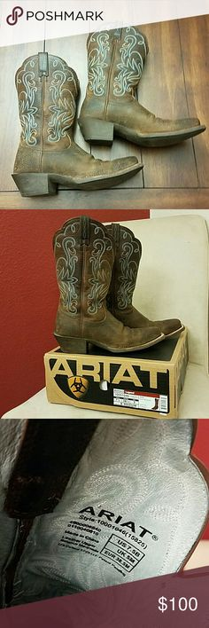 """62% off! Ariat Legend women's boot Ariat Legend, brown oiled rowdy, square toe, 11"""" height cowgirl boots! I need a 7, and these 7.5's are just too big for me. I've worn them 3-4 times just trying to make it work because I love them so much!  These boots can accommodate a wider calf! Ariat Shoes Heeled Boots"""