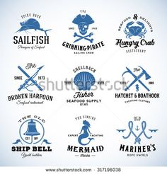 Set of Vector Vintage Nautical and Marine Labels, Signs or Logo Templates. Can be Divided into Separate Design Elements. Great for Posters, Flayers, Menu, etc. With Retro Typography. Isolated. - stock vector