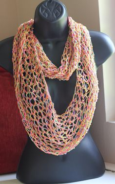 Crochet Neon Thread Scarf