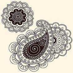 ヘナ Mehndi 花の落書きとペイズリー ベクターアートイラスト