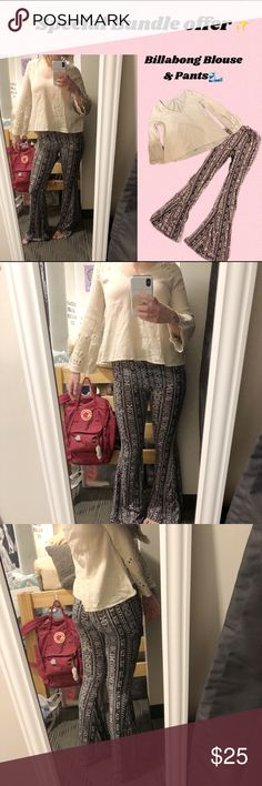"""🌟BILLABONG BUNDLE OFFER🌟 Two items from my closet that pair well together! For a boho/surf look check out these two beauties I got from a surf shop in Ocean City, New Jersey. Both items are in great condition and have soft, comfy fabric. They also both have the """"bell"""" style to them, which is super flattering. My bundle price for these two can be negotiated, so make me an offer!! Feel free to leave questions in the comments💫 Billabong Pants Boot Cut & Flare"""