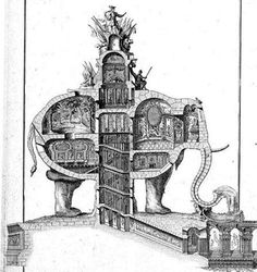 Shown here are the unrealized 1758 plans for Charles-Francois Ribart's elephant shaped house. It was to stand in the Champs-Elyssees in Paris, at the spot where the Arc de Triumph now stands.    Napoleon fancied a similar construction as the centerpiece of the same site. Napoleon's fall at Waterloo in 1815 put the kibosh on the project, but a full sized model stood for a few decades before it was demolished.