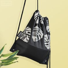 56308fc2e4fd Items similar to Hand Painted Unique Black Backpack Drawstring Bag with  Canvas and Vegan Leather-The Club Tropicana Collection on Etsy