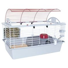 Tip-proof food dish, drip-proof water bottle and hay guard Safe, well-ventilated and comfortable home for small pets Easy access through wire top and wire door at the front of the habitat