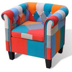 Poltrona tecido de retalhos, com apoio de braços e almofada vidaXL Lisboa - imagem 1