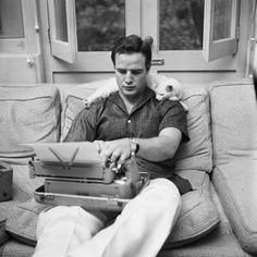 Marlon Brando et son chat Marcus