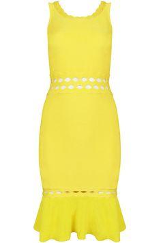 Yellow Sleeveless Hollow Ruffle Body Conscious Dress US$85.00