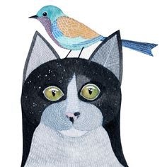 Cats in Art, Illustration, Photography, Decorative Arts, Textiles, Needlework and Design: cat & bird