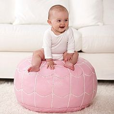 Happy pink: Moroccan Leather Pouf #serenaandlily #pinparty