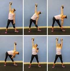 Tone Your Middle with the Kettlebell Windmill--It's suggested we try this move without weights until comfortable, then add 5-pound dumbbells, then move to 8-10-pound kettlebells. #fitness