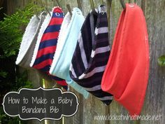 A tutorial on making your own Baby Bandana Bibs. I think that a Bandana Bib is just about the cutest thing any teensy boy can wear.