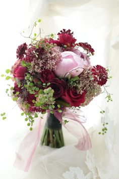 Red pink green bouquet