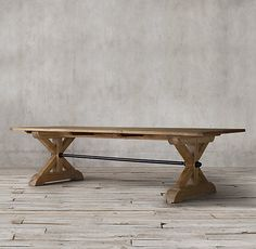 Ironbolt Trestle Rectangular Table:Inspired by tables that hosted feasts in the great halls and taverns of Europe, ours is hewn from solid pine, braced by a massive iron stretcher. A dramatic hex nut anchors the bar where it meets each trestle leg. Dining Room Furniture Sets, Dining Room Table, Kitchen Tables, Furniture Plans, Kitchen Furniture, Dining Area, Diy Furniture, Furniture Design, Trestle Table