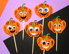 Quilling Cupcake topper with Halloween owl Set of by QuillingLife