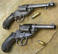 Top Colt Thunderer .41 caliber with ejector. Bottom Colt Lightning .38 caliber storekeeper model.