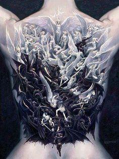 Good versus Evil, angels versus devils, dark, light, 3D tattoo, back tattoo, black and white tattoo, demons versus holy spirits, religious tattoo, religious tattoos, body art, 3D tattoos, Heaven vs Hell, religious body art, religion, flying spirits