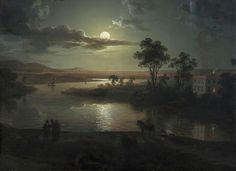lionofchaeronea: Evening Scene with Full Moon and Persons, Abraham Pether, 1801