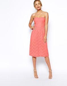 ASOS Bandeau Midi Dress In Lace