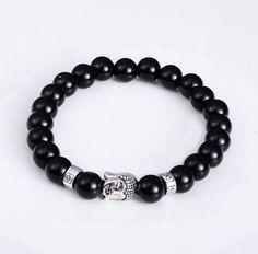 Tiger Eye Buddha Bead Bracelet For Men and Women - Black Silver