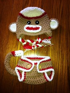 Sock monkey hat and diaper cover set newborn by MRocheCrochet