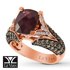 Le Vian Garnet Ring  1 1/6 ct tw Diamonds  14K Strawberry Gold