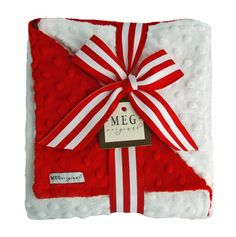 Red & White Minky Blanket-meg, meg original, christmas, blanket, baby blanket, new, minkee, minky, soft, dimple dot, blanky, red, white, candy cane, cuddle, swaddle, receiving blanket, baby's 1st christmas, newborn, layette
