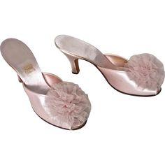 1930's Daniel Green Pink Satin Tulle Pom Pom Slippers