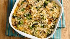 Cheesy Chicken, Broccoli and Rice Casserole This lighter, fresher version of the classic chicken casserole is sure to become a family favorite. Chicken Broccoli Rice, Broccoli Rice Casserole, Chicken Casserole, Cooked Chicken, Casserole Recipes, Broccoli Bake, Smothered Chicken, Frozen Broccoli, Rice Soup