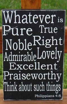Philippians 4:8 Christian Bible Scripture Subway Art