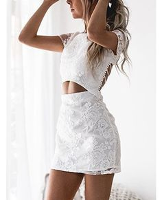 We have fallen hard for the Floral Lace Cutout Waist Criss-cross Back Two Piece Dress Featuring a round neckline, short sleeves, criss-cross back, cutout out waist and an invisible zipper at back. Style it with stiletto heels and fine silver accessories. Hoco Dresses, Dance Dresses, Homecoming Dresses, Cute Dresses, Formal Dresses, Prom, Mini Dress Formal, Mini Dresses, Cutout Dress