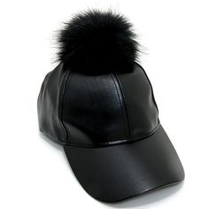 bd92b88ec95 Women s Faux Leather Fur Pom Pom Adjustable Baseball Cap PM3041 ( 17) ❤  liked on