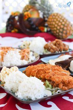 Hawaiian food, chicken katsu, pineapples,luau