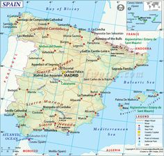 Map of Spain which lies in south-western Europe. It is a top tourist destination consisting of many beautiful cities. Also, find political map of Spain, Spain physical map, Spain Road map. Map Of Spain, Spain And Portugal, Italy Map, Rome Italy, Pamplona, Andorra, Bilbao, Bay Of Biscay, Travel Maps