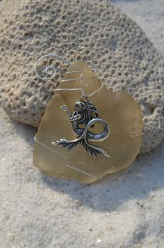 Authentic frosted brown sea glass Christmas ornaments with silver mermaid charm. Genuine frosted brown sea glass ornament. Dress up your Christmas