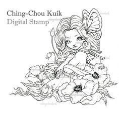 Peony Kimono Maiden Digital Stamp Instant Download / by gjzcck
